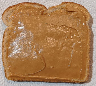 This image shows the difficulty of estimating caloric content of peanut butter visually