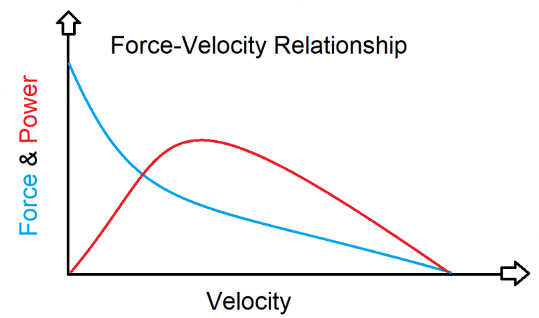 an image depicting the force-velocity relationship and its association with power production.