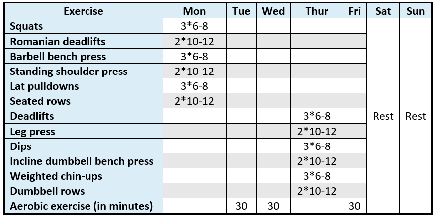 an example 2 day per week full body gym routine using linear progression and linear periodization