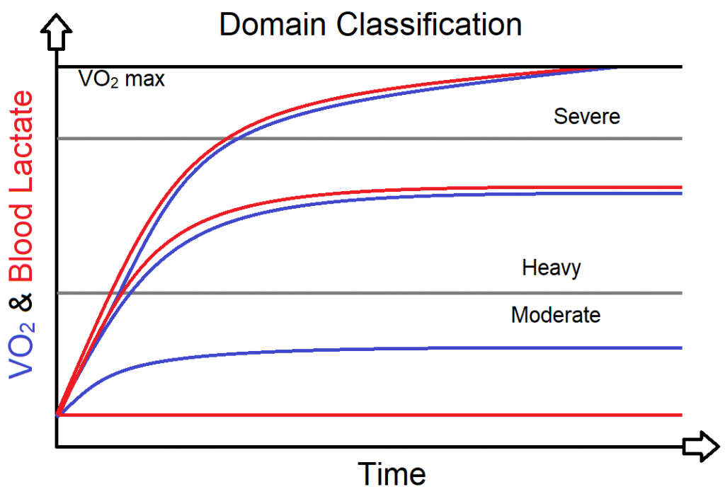 an image showing how VO2 and blood lactate differ by the domain classification of exercise intensity